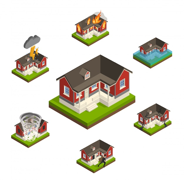 Household insurance isometric set Free Vector