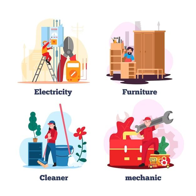 Revoca e pulizia domestica Vettore gratuito