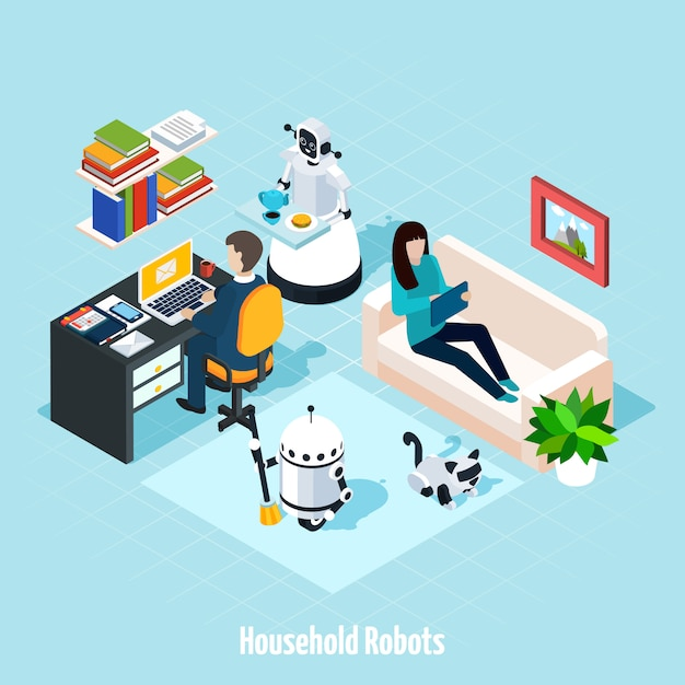 Household robots isometric composition Free Vector