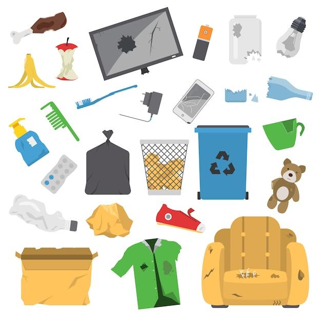 Household waste garbage icons Premium Vector