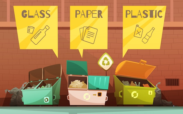 Household waste sorting colored containers Free Vector