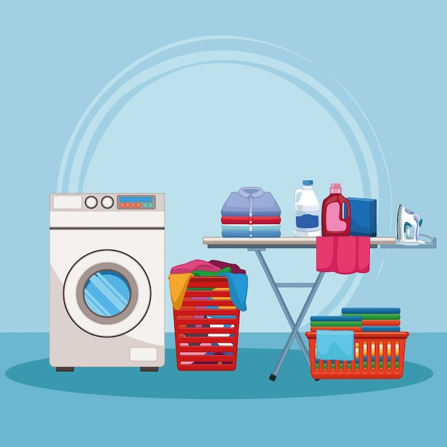 Housekeeping and cleaning kit supplies Premium Vector