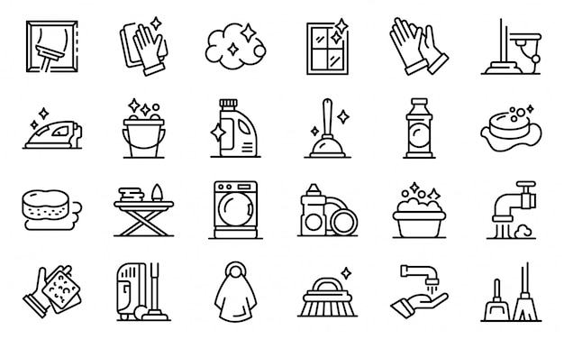 Housekeeping icons set, outline style Premium Vector