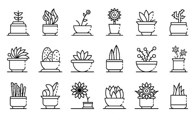 Houseplants icons set, outline style Premium Vector
