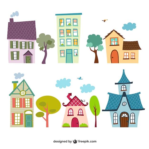 Houses cartoons Free Vector