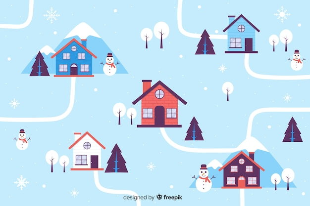 Houses on christmas eve flat design Free Vector