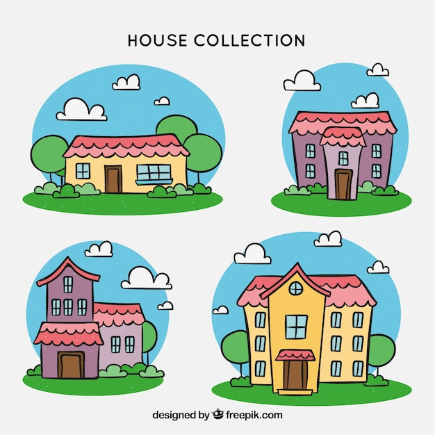 Houses collection with many colors Free Vector
