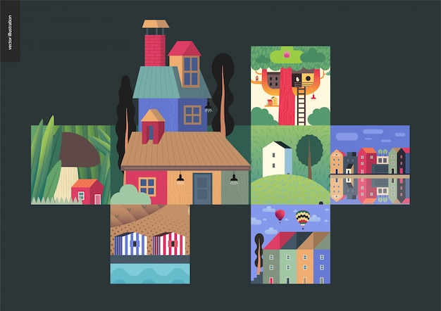 Houses composition Premium Vector