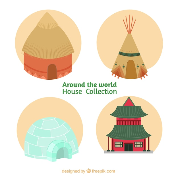 Houses of diferent cultures Free Vector
