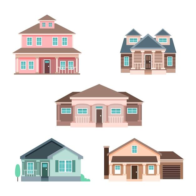 주택 평면 디자인 일러스트 팩 무료 벡터