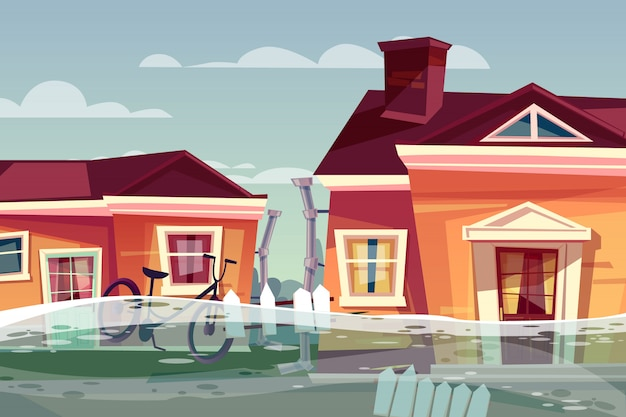 Houses in flood illustration of buildings under deluge water flowing in street. Free Vector