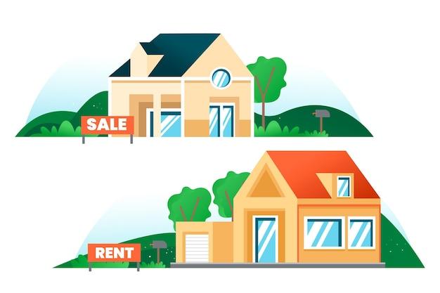 판매 및 임대 주택 세트 프리미엄 벡터