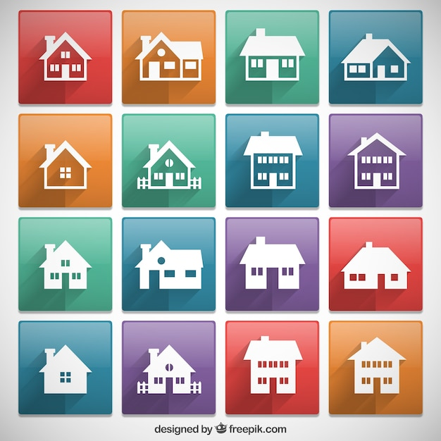 Houses icons collection Free Vector