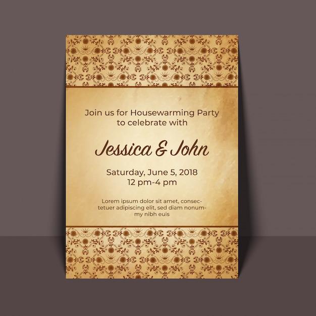 Housewarming Party Invitation Card Design Vector Premium