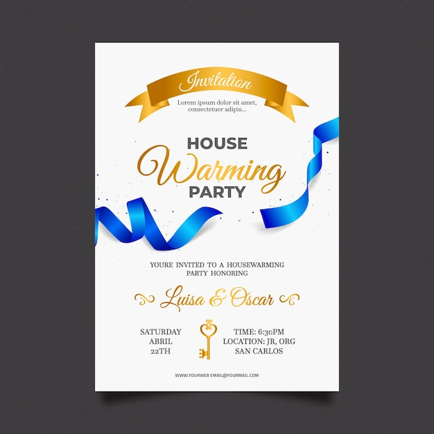 Housewarming party invitation design Free Vector