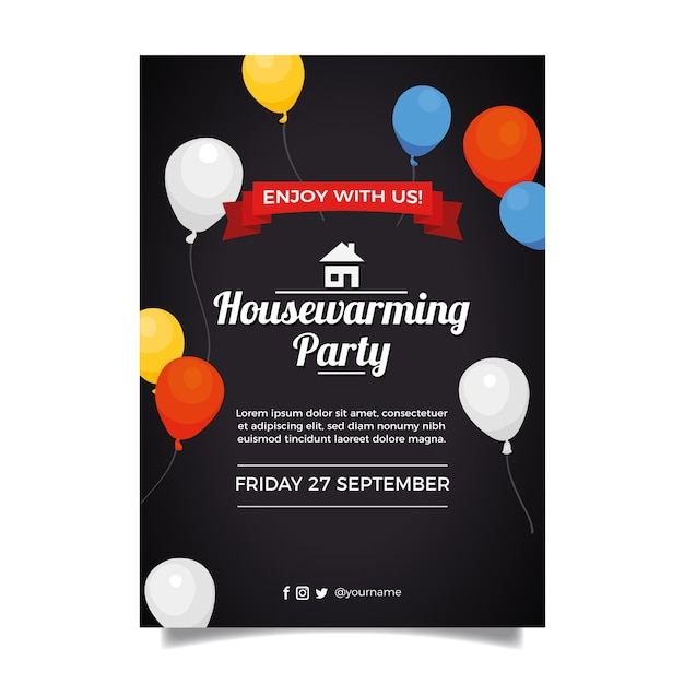 Housewarming party invitation template concept Free Vector