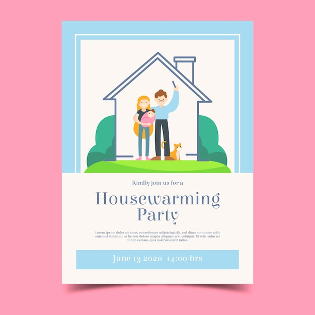 Housewarming party invitation template with couple Free Vector