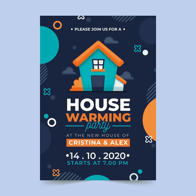 Housewarming party invitation template Free Vector