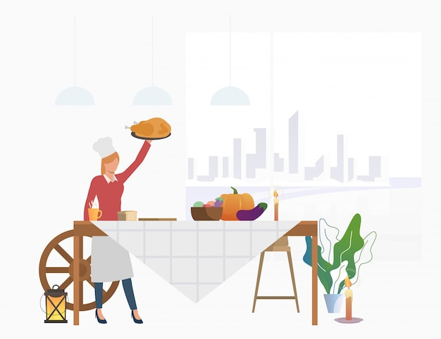 Housewife bringing turkey to feast table Free Vector