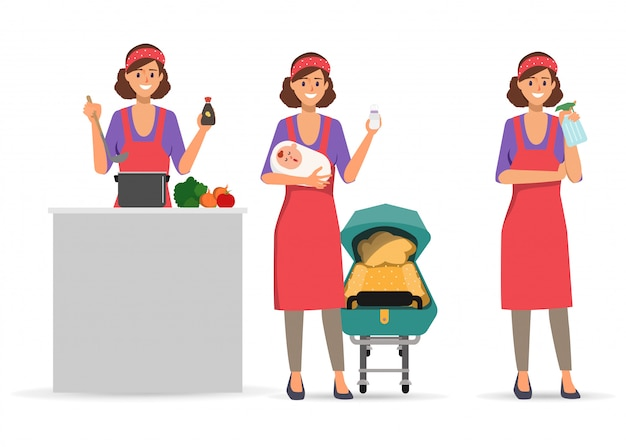 Housewife character routine daily activity doing. Premium Vector