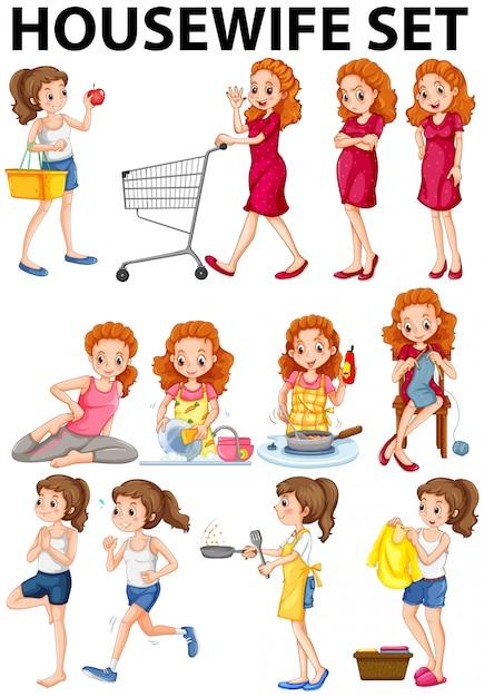 Housewife doing different activities Free Vector