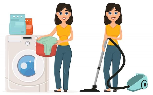 Домохозяйка делает домашнюю работу Premium векторы