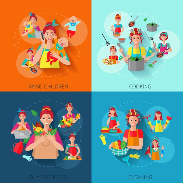 Housewife flat set Free Vector