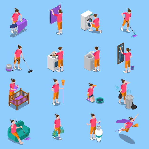Housewife isometric icons set Free Vector