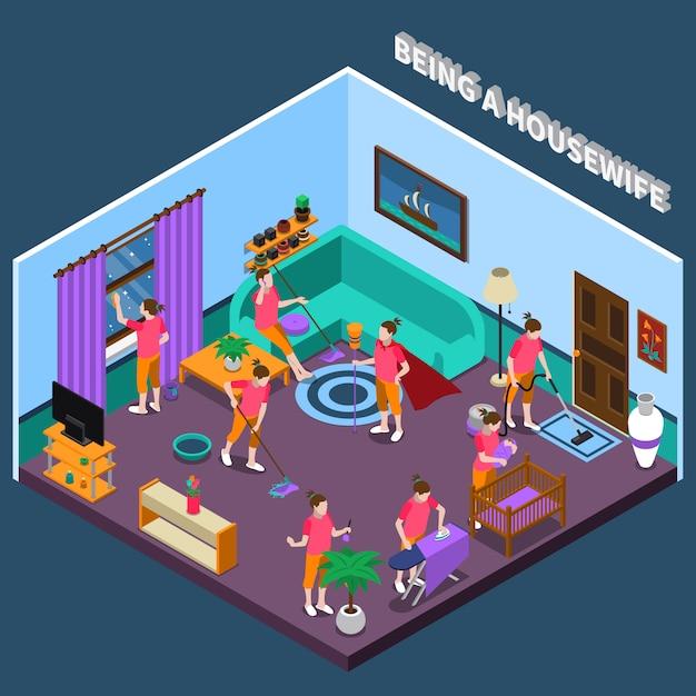 Housewife isometric scene Free Vector