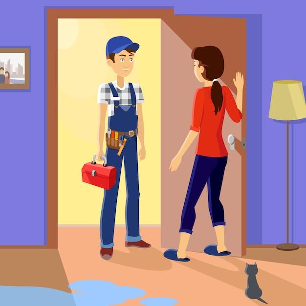 Housewife meets master repairman Premium Vector