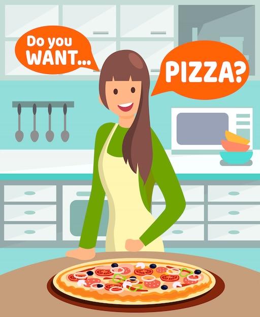 Housewife offering dinner vector illustration Premium Vector