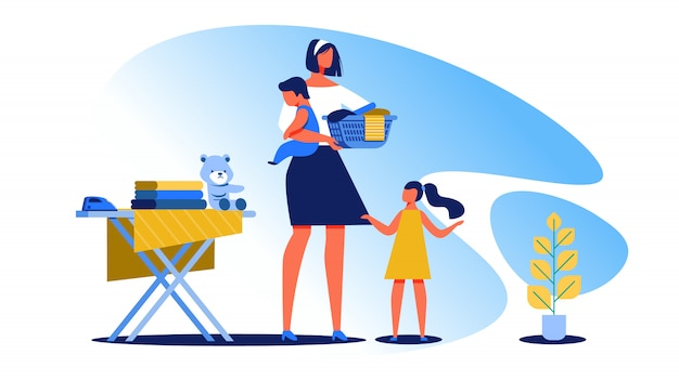 Housewife with little children clean house  vector Premium Vector
