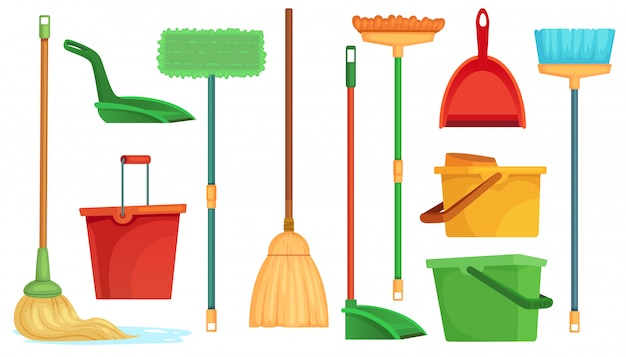 Housework broom and mop. sweeper brooms, home cleaning mops and cleanup broom with dustpan isolated cartoon  illustration set Premium Vector