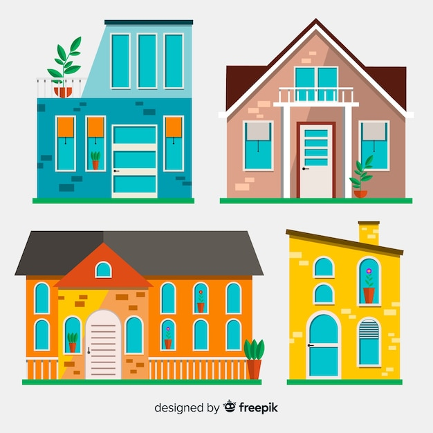 Housing collection Free Vector