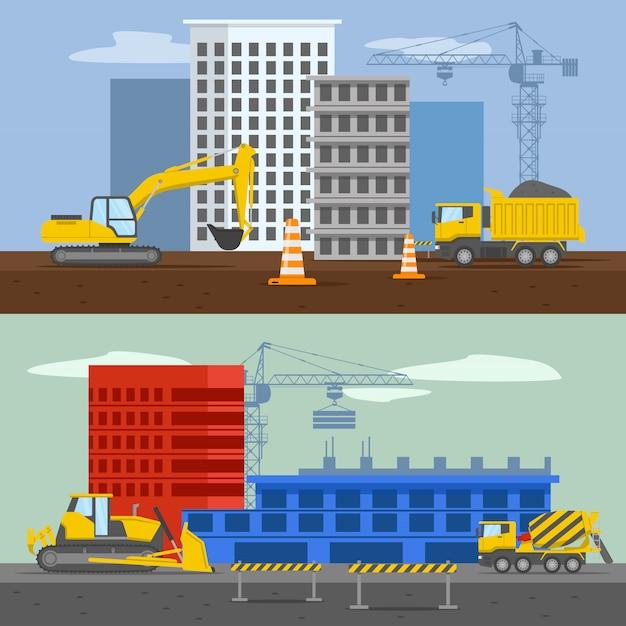 分離された空にmachieneryバリアシステムを構築する高層住宅建築の住宅開発構成 無料ベクター