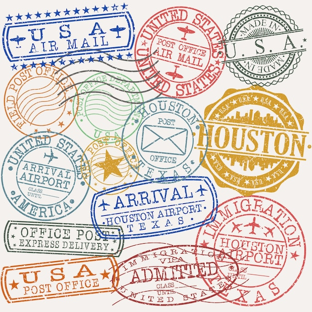 Houston texas set of travel and business stamp designs Premium Vector