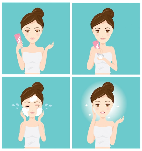 How to clean your face Premium Vector