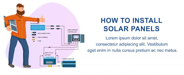 How to install solar panels batteries instruction Premium Vector