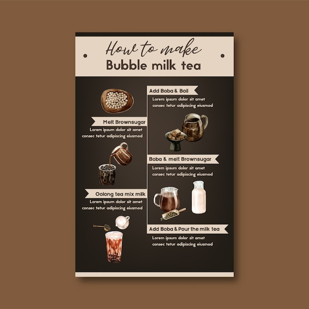 How to make bubble milk tea homemade, ad content modern, watercolor illustration Free Vector