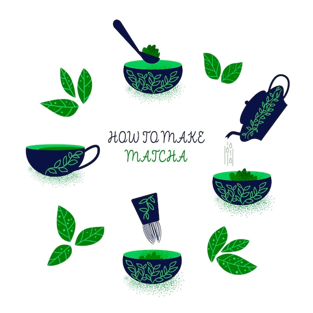 How to make matcha concept Free Vector