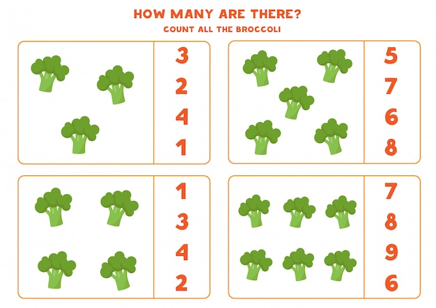 Premium Vector How Many Broccolis Are There. Educational Counting Game  For Kids. Math Worksheet For Preschoolers.