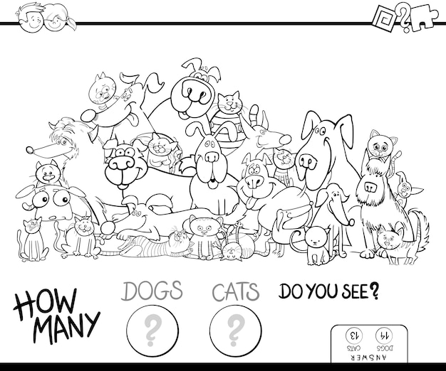 How many cats and dogs game color book Premium Vector