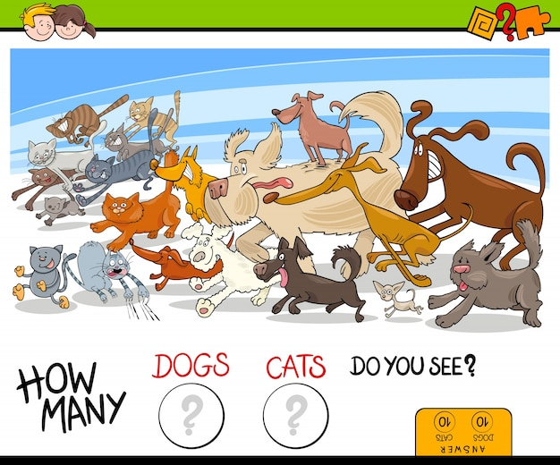 How many dogs and cats activity game Premium Vector