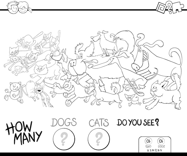 How many dogs and cats color book Premium Vector