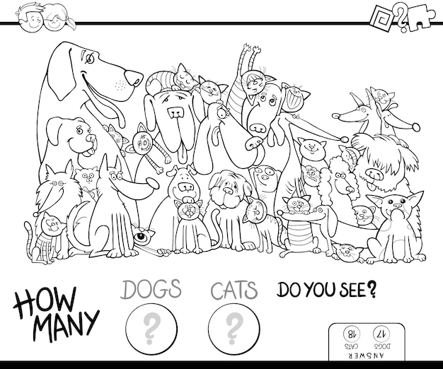 How many dogs and cats coloring book Premium Vector