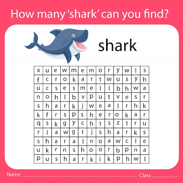 How many 'shark' can you find Premium Vector