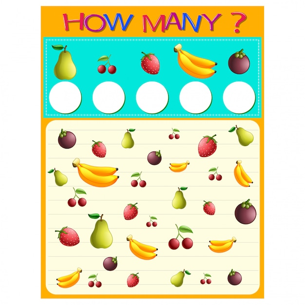 How many worksheet with many fruits Premium Vector