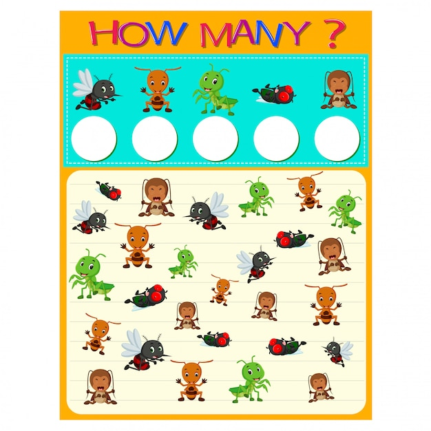 How many worksheet with many insects Premium Vector