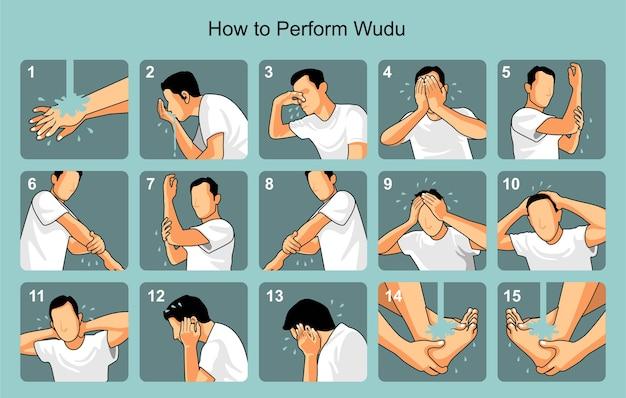 Premium Vector | How to perform wudu in islam