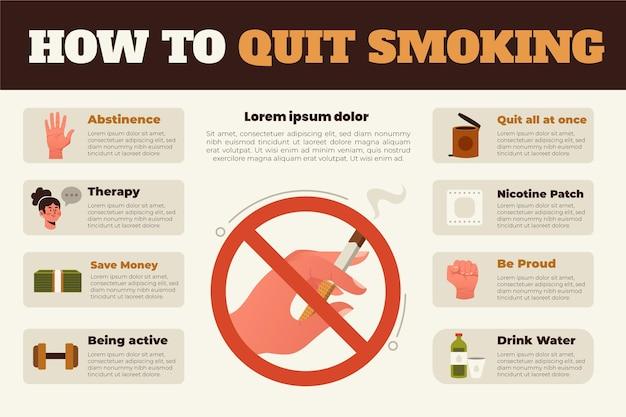 Come smettere di fumare infografiche Vettore gratuito